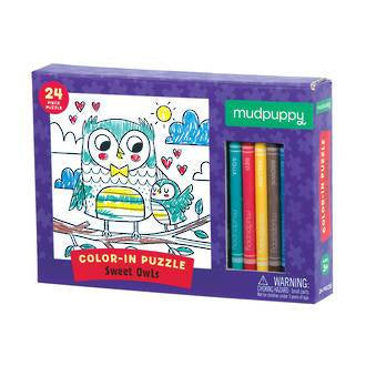 Mudpuppy: Sweet Owls Colour-in Puzzle - KidsnToys.co.nz