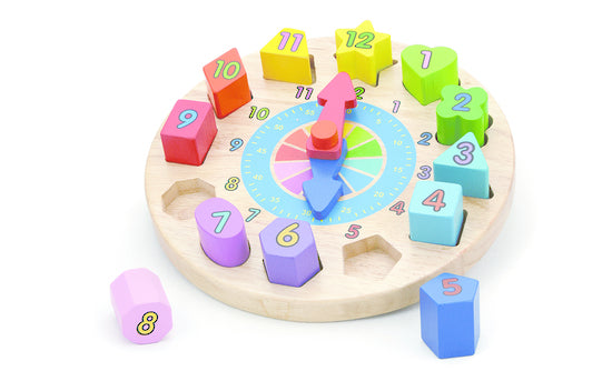 Viga: Puzzle Clock and Geometric Blocks - KidsnToys.co.nz
