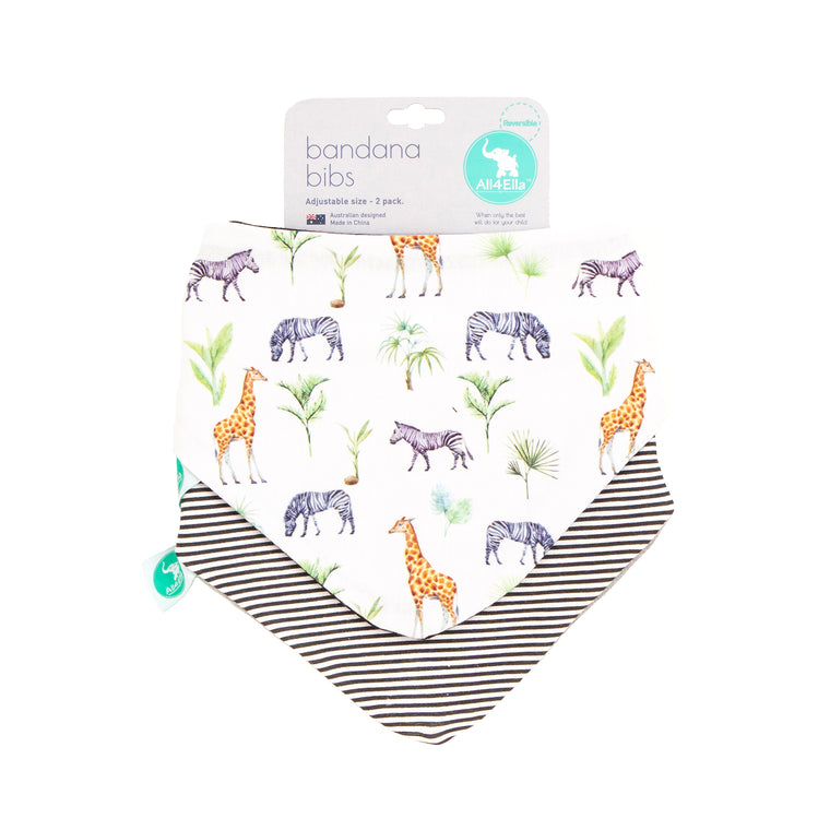 All4Ella Bandana Bibs 2pk - Reversible - Safari