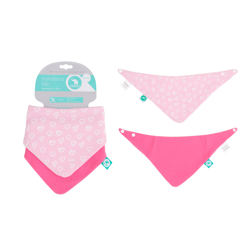 All4Ella: Bibs 2pk - Reversible - Hearts - KidsnToys.co.nz