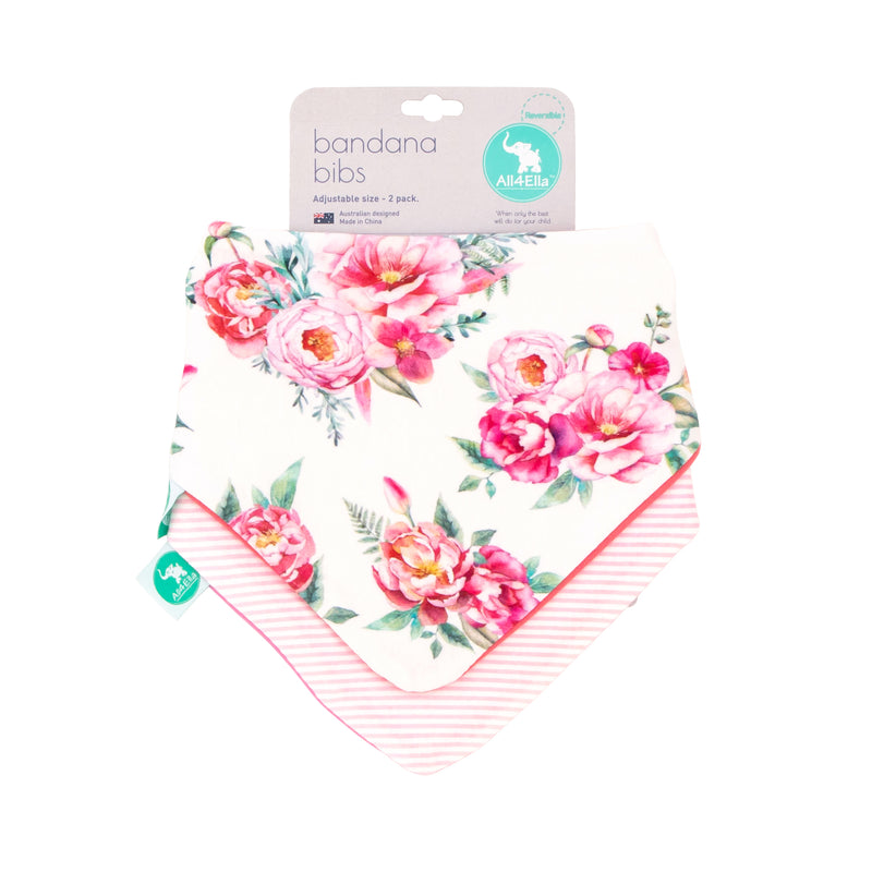 All4Ella Bandana Bibs 2pk - Reversible - Floral - KidsnToys.co.nz