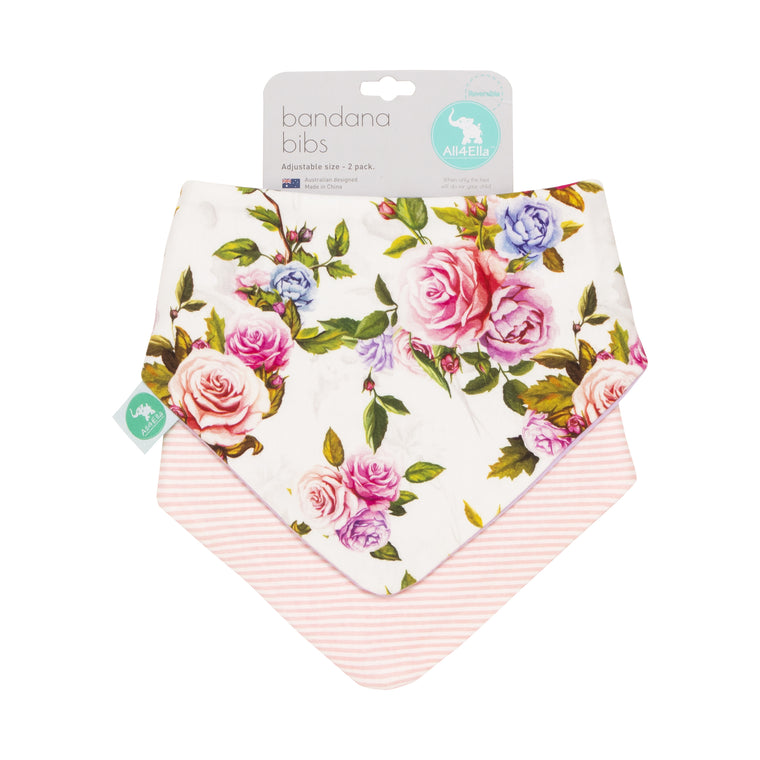 All4Ella: Bandana Bibs 2pk - Reversible - Rose