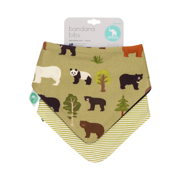 All4Ella: Bandana Bibs 2pk - Reversible - Bears