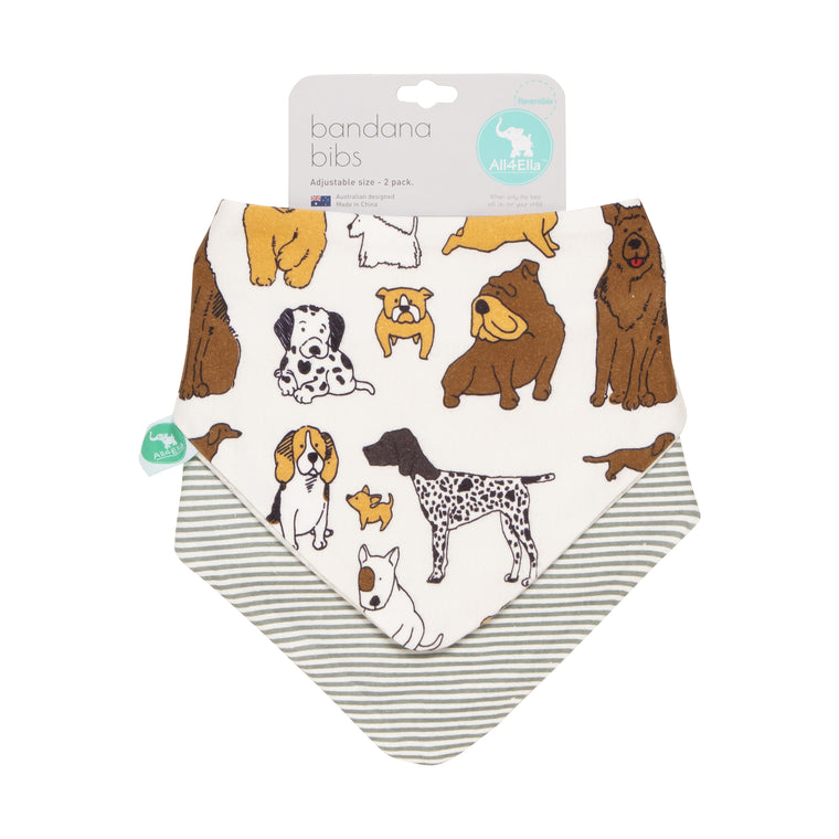 All4Ella: Bandana Bibs 2pk - Reversible - Dog Breeds