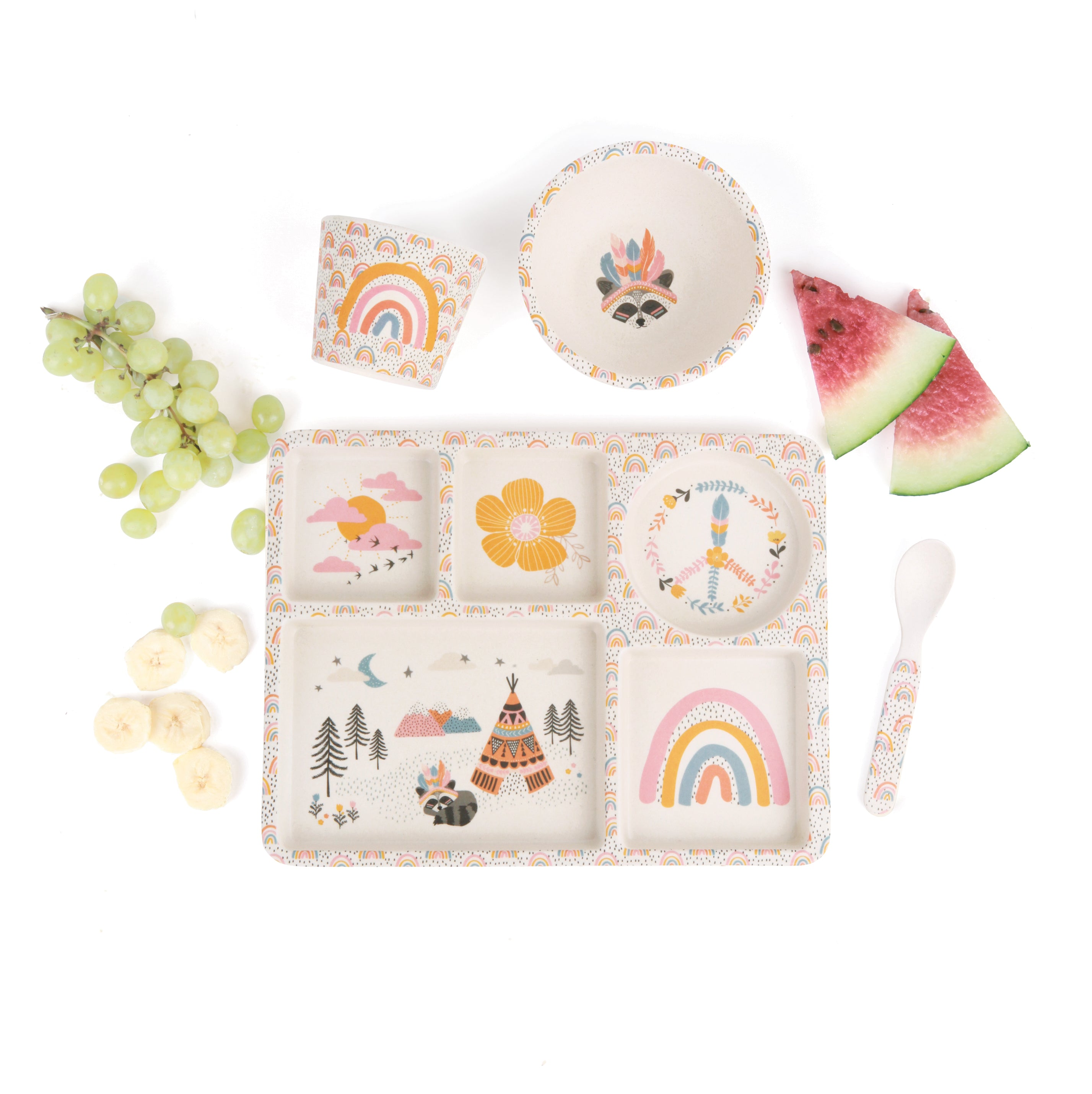 Love Mae: Divided Plate Set - Gypsy Girl - KidsnToys.co.nz