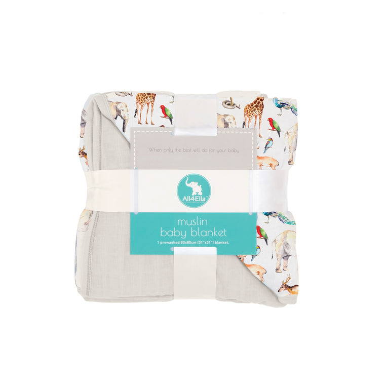 All4Ella: Muslin Blanket - Animals