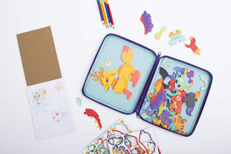Meir Edu: Puzzle & Draw Magnetic Kit - Crazy Monsters - KidsnToys.co.nz