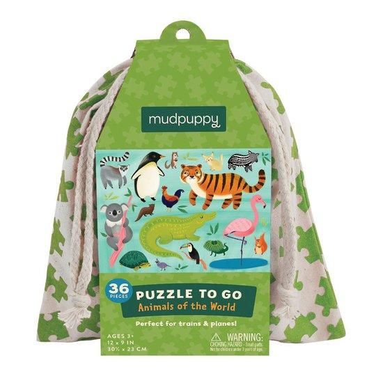 Mudpuppy: Animals of the World Puzzle to go, 36pc - KidsnToys.co.nz