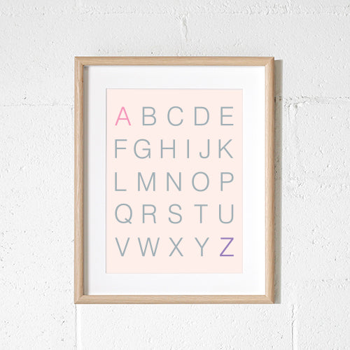 Sprout & Sparrow - A3 Alphabet Blush Print