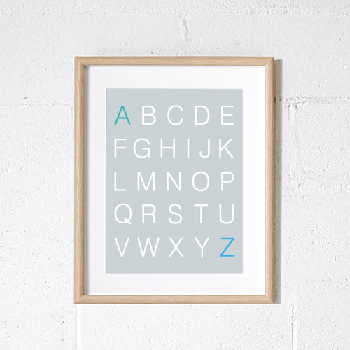 Sprout & Sparrow - A3 Alphabet Grey Print