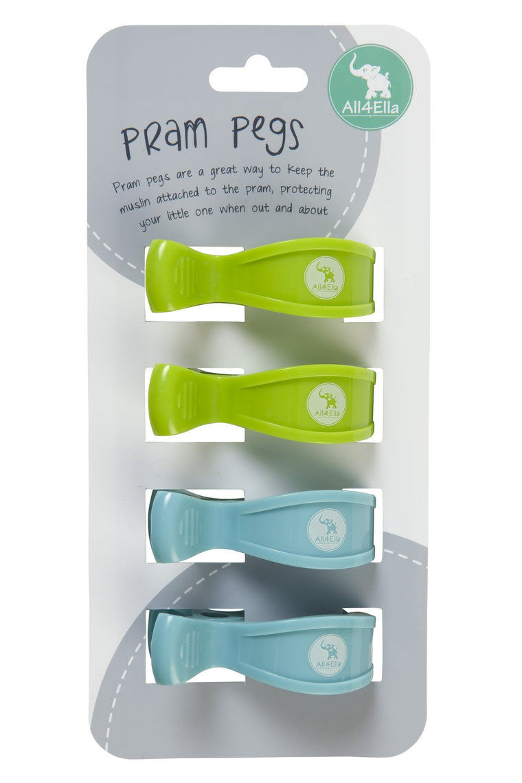 All4Ella: Pram Pegs - 4 Pack - Green and Blue