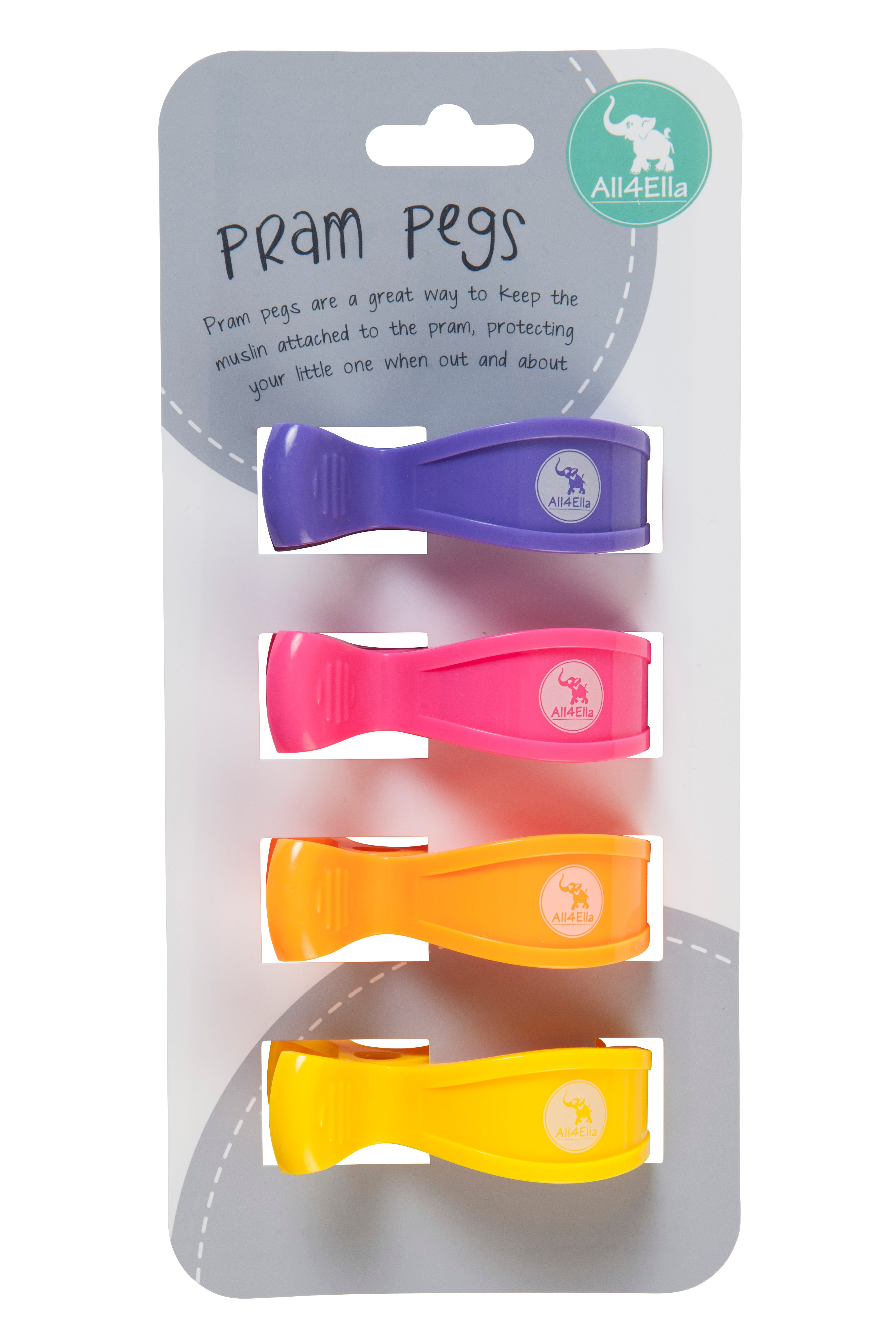 All4Ella: Pram Pegs - 4 Pack - Multi Lollies - KidsnToys.co.nz