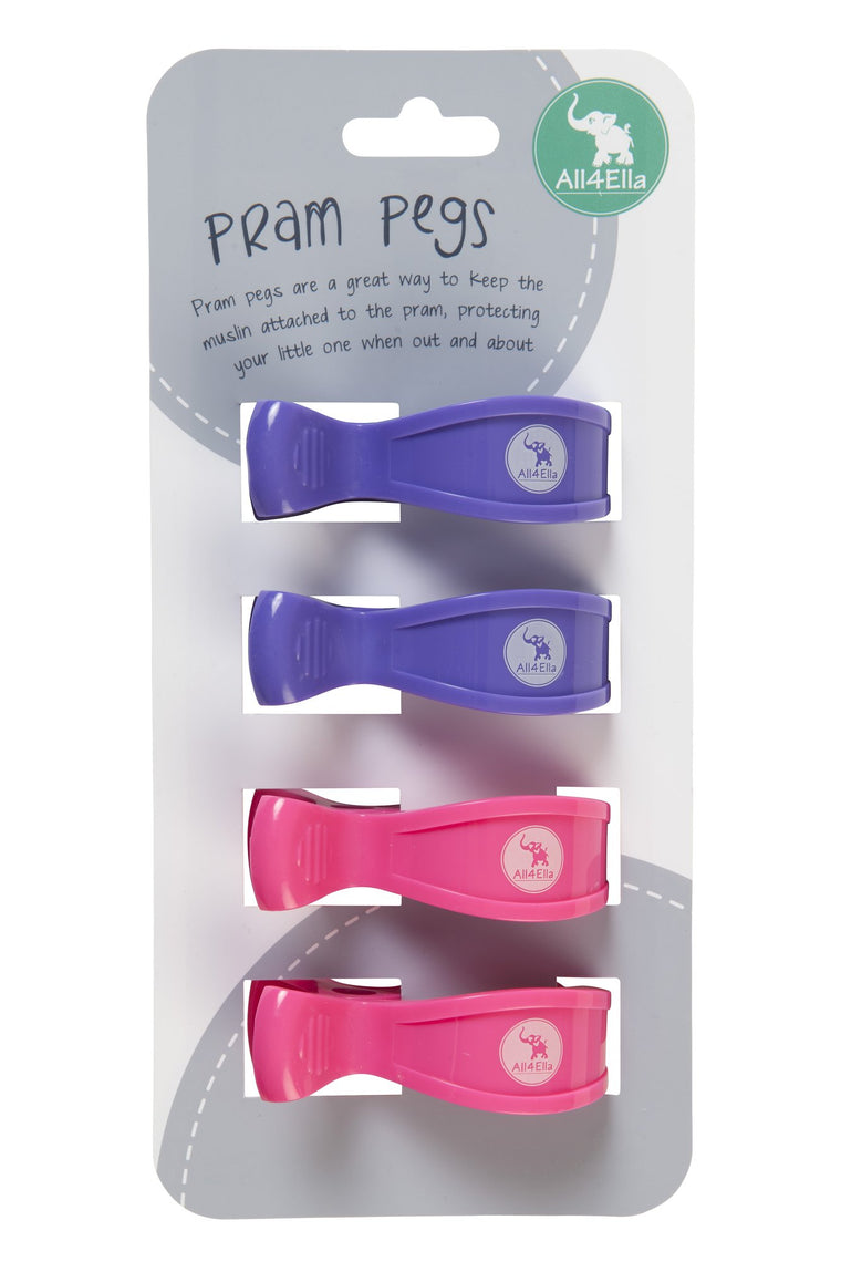 All4Ella: Pram Pegs - 4 Pack - Purple and Pink