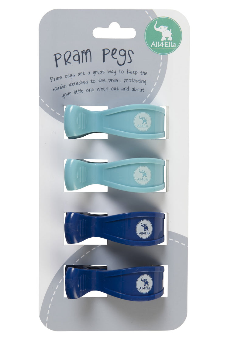 All4Ella: Pram Pegs - 4 Pack - Blue & Navy