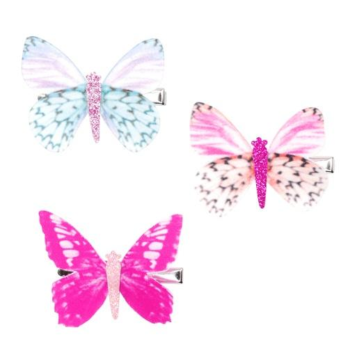 Pink Poppy Fluttering Butterfly Hairclip