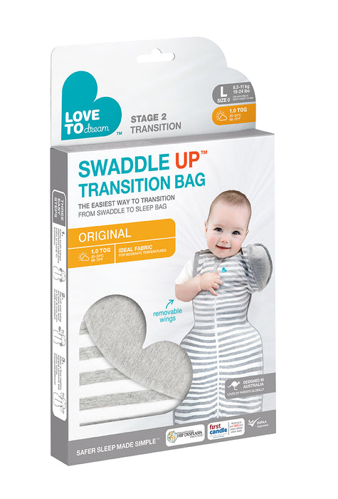 Love to Dream Swaddle Up Transition Sleeping Bag - Grey  1.0 TOG - KidsnToys.co.nz