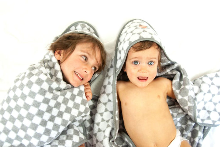 Troupe Baby Hooded Towel - Grey Checkerboard