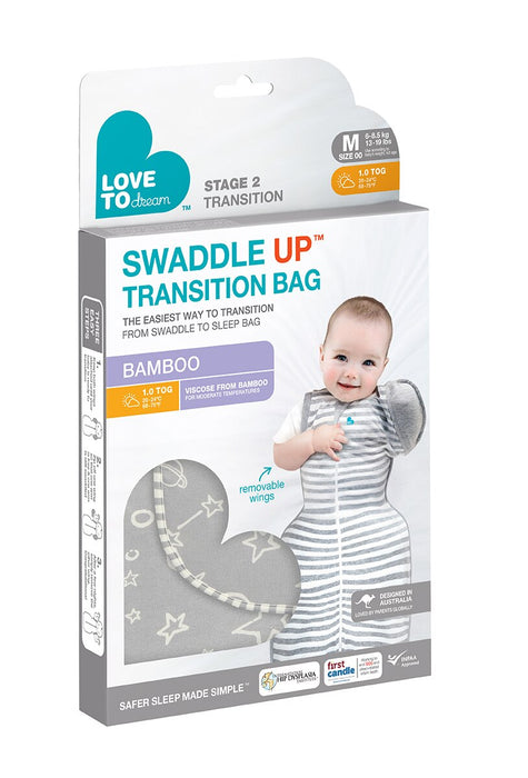 Love to Dream Swaddle Up Transition Sleeping Bag - Bamboo Grey  1.0 TOG (4792092688455)