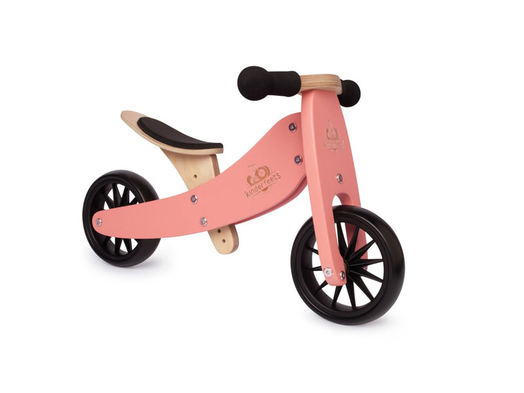 Kinderfeets: 2-in-1 Tiny Tot Tricycle & Balance Bike - Coral