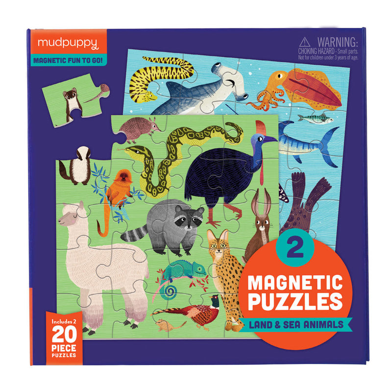 Mudpuppy: Land & Sea Animals Magnetics Puzzle - KidsnToys.co.nz