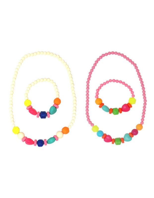 Pink Poppy Fluorescent Bead Necklace & Bracelet Set