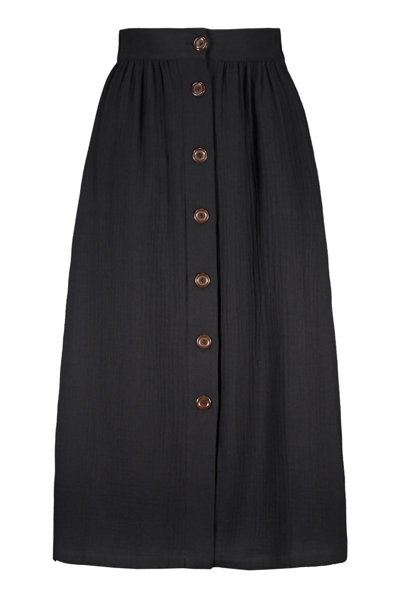 Button Skirt, Black