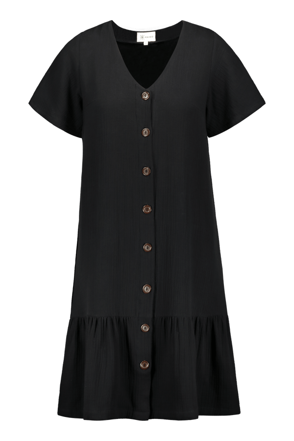 Frill Button Dress, Black