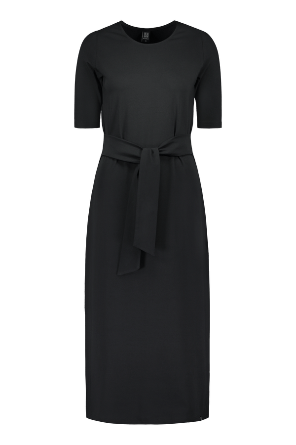 Midi Belted Dress, Black