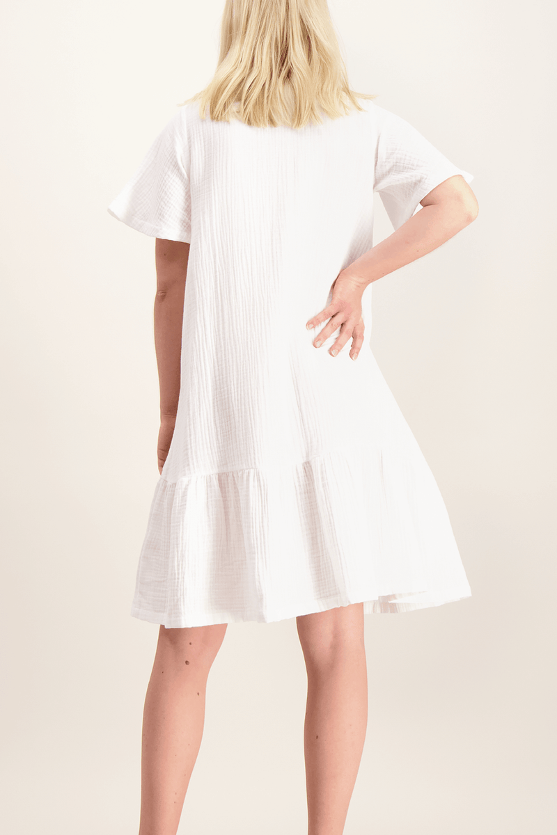 Frill Button Dress, White
