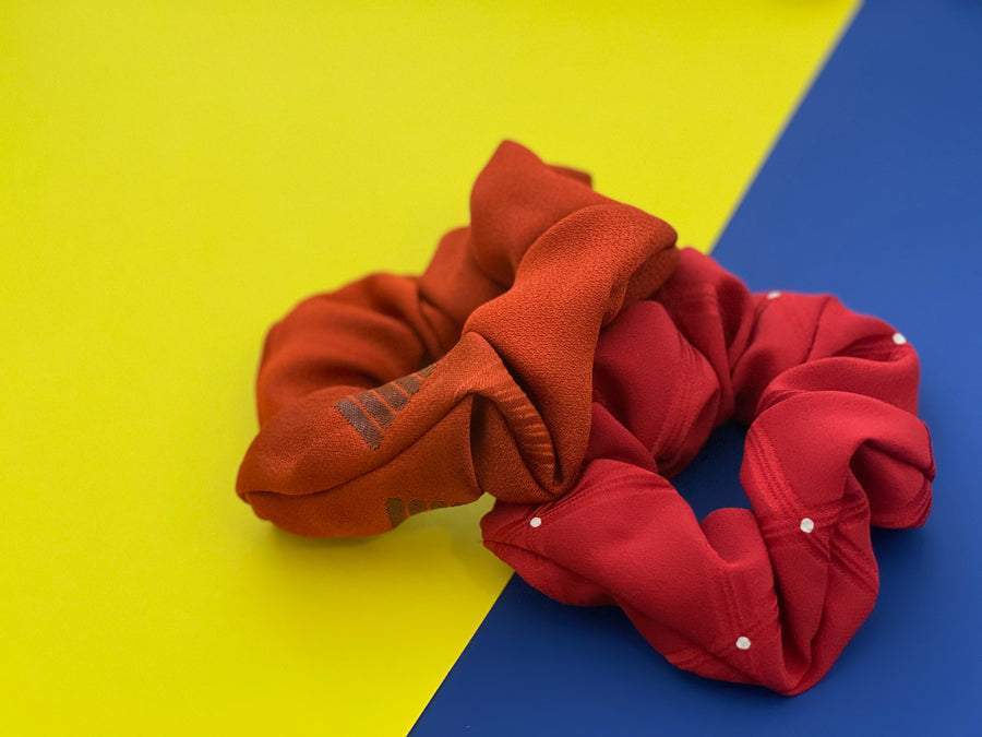 Kimono scrunchies - Takara Red and Orange