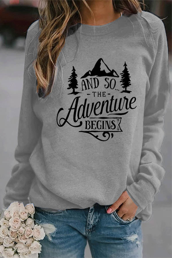 AND SO THE Adventure BEGINS Letter Mountain Forest Print Simple Women T-shirt