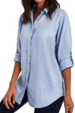 Solid Adjustable Sleeve Linen Blouse