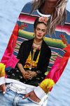 Dignified Sitting Frida Kahlo Gradient Striped Oil Painting Print Holiday Sweatshirt