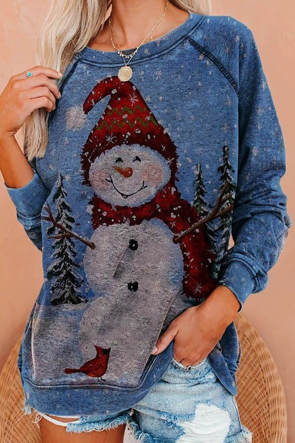 Snowy Day Snowman With Smile Face Print Christmas Holiday Sweatshirt