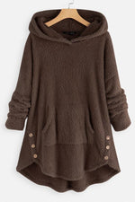 Faux Fur Asymmetrical Button Hem Plus Size Hoodie