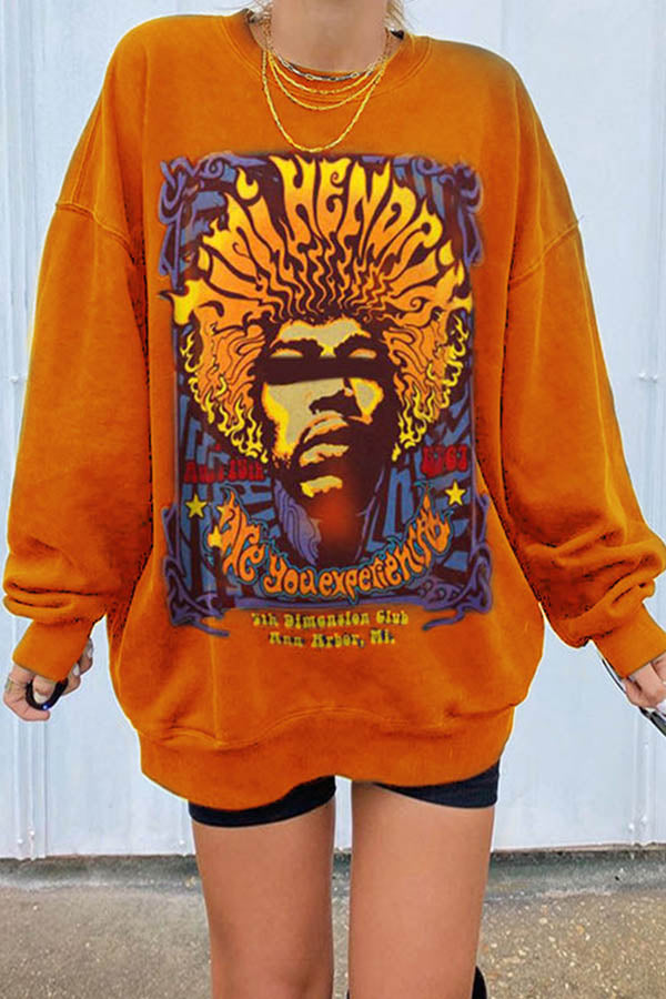 Jimi Hendrix Are You Experienced Letter Print Street Sweatshirt
