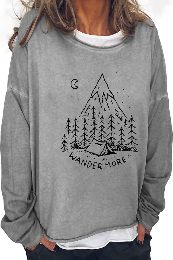 Wander More Letter Forest Moon Mountain Camping Print Shift Sports T-shirt