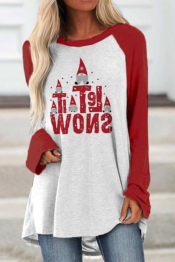Let It Snow Cartoon Christmas Santa Claus Print Color-block Raglan Sleeves T-shirt