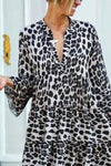 Holiday Leopard Print V-neck Bell Sleeves Paneled Maxi Dress