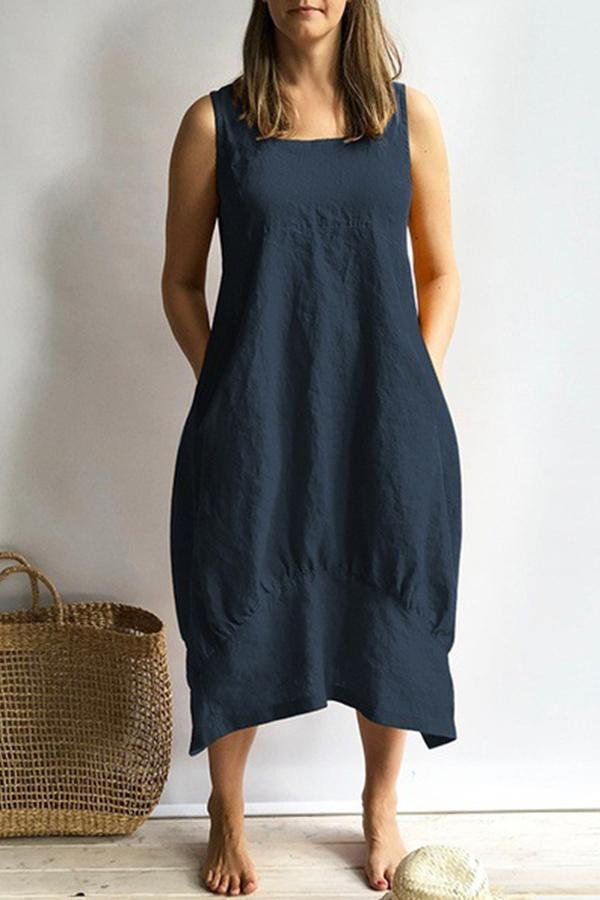 Casual Solid Side Pockets Sleeveless Midi Dress
