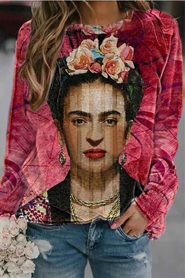Frida Kahlo Floral Headwear Print Oil Painting Gradient Design Sweatshirt