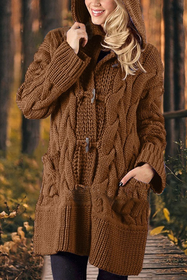 Vintage Solid Knitted Ribbed Tweed Horn Buckles Hooded Cardigan