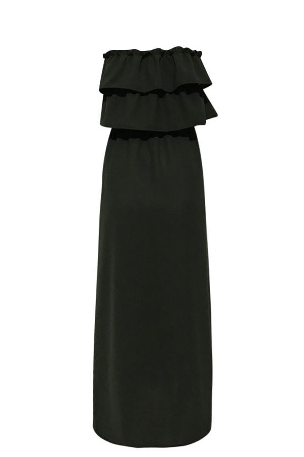 Casual Solid Wrapped Chest Maxi Dress