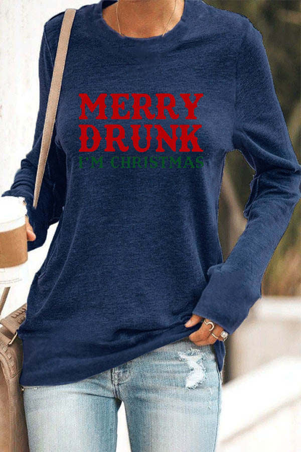 Merry Drunk Im Christmas Letter Print Casual Classic T-shirt