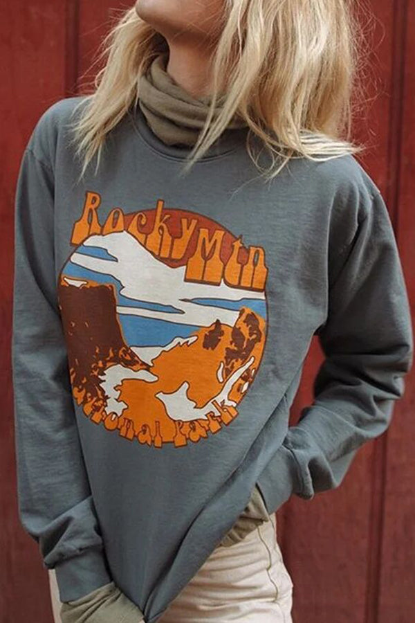 Nature Landscape Mountain River Forest Print Casual Paneled Sweatshirt