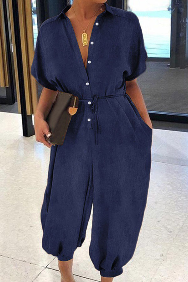 Casual Solid Shirt Collar Short Sleeves Button Jumpsuit