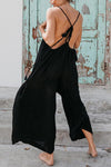 Backless Solid Holiday Spaghetti Wide Leg Jumpsuit