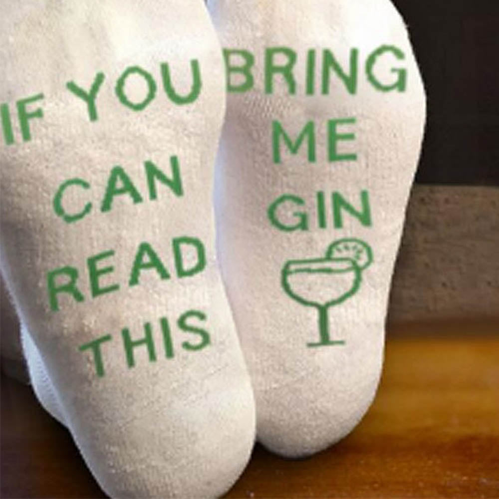 IF YOU CAN READ THIS BRING ME GIN Letter Jacquard Casual Socks