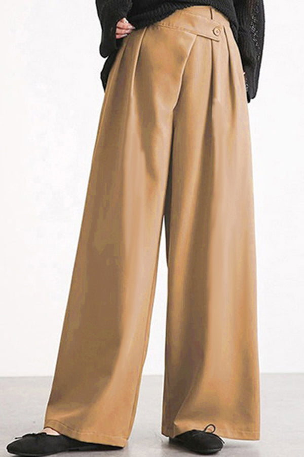 Casual Solid Irregular Waist Pleated Buttoned Side Pockets Long Wide Leg Pants