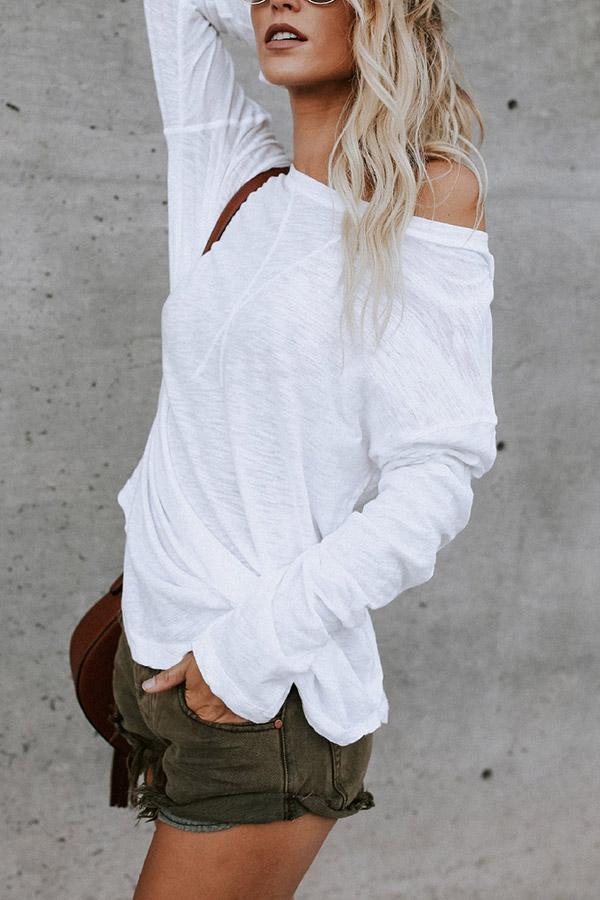 Round Neck Long Sleeves Solid T-shirt